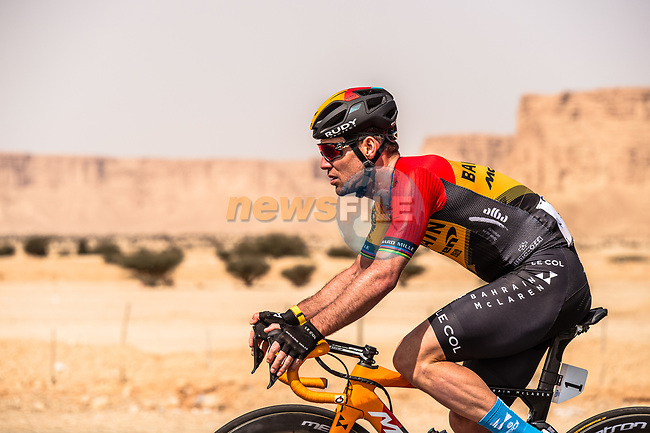 Mark Cavendish (GBR) Bahrain-McLaren in action during Stage 1 of the Saudi Tour 2020 running 173km from Saudi Arabian Olympic Committee to Jaww, Saudi Arabia. 4th February 2020. <br /> Picture: ASO/Kåre Dehlie Thorstad | Cyclefile<br /> All photos usage must carry mandatory copyright credit (© Cyclefile | ASO/Kåre Dehlie Thorstad)