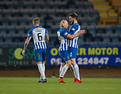 6th February 2019, Dens Park, Dundee, Scotland; Ladbrokes Premiership football, Dundee versus Kilmarnock; Chris Burke of Kilmarnock is congratulated after scoring for 2-2 by Stephen O'Donnell in the 63rd minute