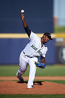 Peoria Javelinas pitcher Thyago Vieira (51), of the Seattle Mariners organization, during a game against the Surprise Saguaros on October 12, 2016 at Peoria Stadium in Peoria, Arizona.  The game ended in a 7-7 tie after eleven innings.  (Mike Janes/Four Seam Images)