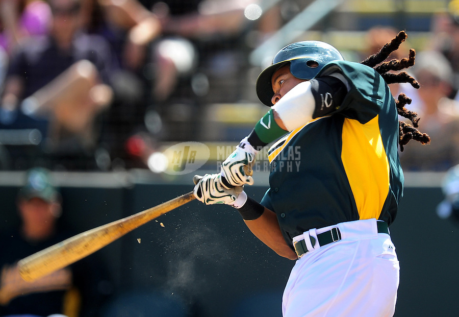 Mar. 4, 2012; Phoenix, AZ, USA; Oakland Athletics designated hitter Manny Ramirez against the Los Angeles Angels during a spring training game at Phoenix Municipal Stadium.  Mandatory Credit: Mark J. Rebilas-