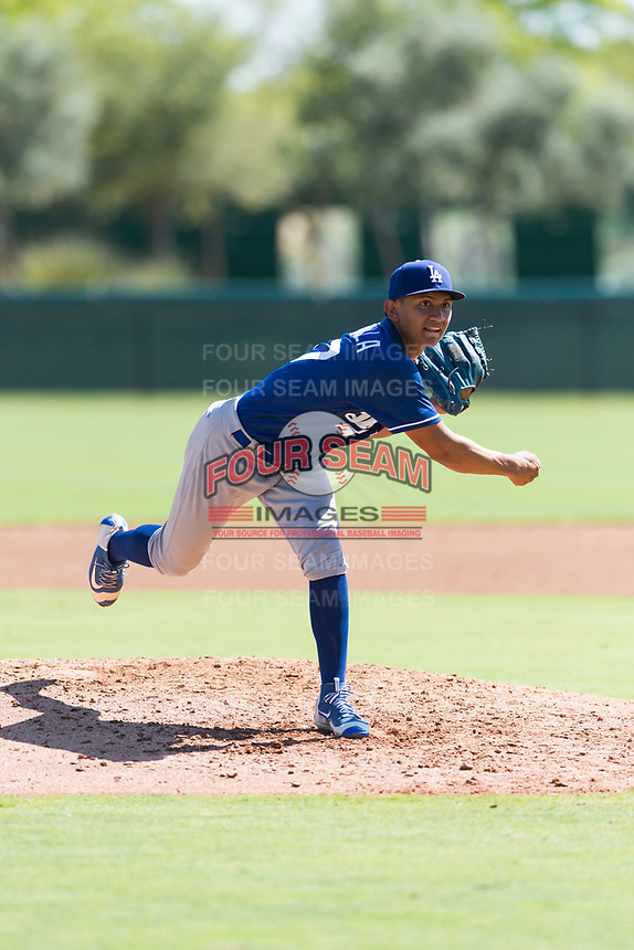 Los Angeles Dodgers relief pitcher Carlos Montilla (57) follows through on his delivery during an Instructional League game against the Oakland Athletics at Camelback Ranch on September 27, 2018 in Glendale, Arizona. (Zachary Lucy/Four Seam Images)