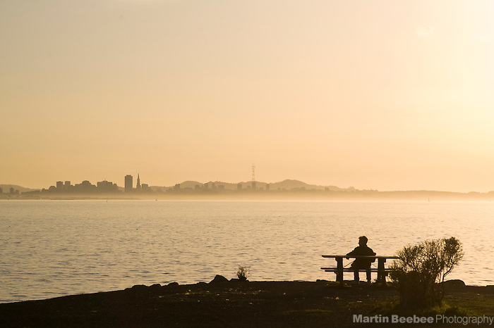 A man contemplates the San Francisco skyline from Point Isabel Regional Shoreline, California