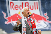 United States Senator Frank Lautenberg addresses the media during the topping off ceremony at Red Bull Arena in Harrison, NJ, on April 14, 2009.