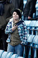 A young Millwall FC fan makes his feelings known to the away fans during the Sky Bet Championship match between Millwall and Sheff United at The Den, London, England on 2 December 2017. Photo by Carlton Myrie / PRiME Media Images.