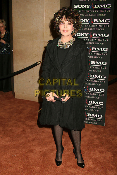 CAROLE BAYER SAGER.Clive Davis 2007 Pre-Grammy Awards Party at the Beverly Hilton Hotel, Beverly Hills, USA..February 10th, 2007.full length black dress beads beaded collar.CAP/ADM/BP.©Byron Purvis/AdMedia/Capital Pictures