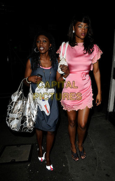 DIANE PARISH & TIANA BENJAMIN.Celebrity sighting at The Ivy Restaurant, London, England..July 22nd, 2008.full length grey gray dress pink print silver bag purse lace trim.CAP/CAN.©Can Nguyen/Capital Pictures.