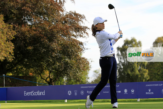 Virginia Elena Carta (ITA) on the 1st tee during Day 2 Singles for the Junior Ryder Cup 2014 at Blairgowrie Golf Club on Tuesday 23rd September 2014.<br /> Picture:  Thos Caffrey / www.golffile.ie