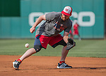 22 July 2016: Washington Nationals infielder Daniel Murphy fields grounders at first prior to a game against the San Diego Padres at Nationals Park in Washington, DC. The Padres defeated the Nationals 5-3 to take the first game of their 3-game, weekend series. Mandatory Credit: Ed Wolfstein Photo *** RAW (NEF) Image File Available ***