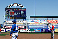 View in left field at historic Rosenblatt Stadium.  This is the last season for the historic venue. May 5th, 2010; Oklahoma CIty Redhawks vs Omaha Royals at historic Rosenblatt Stadium in Omaha Nebraska.  Photo by: William Purnell/Four Seam Images