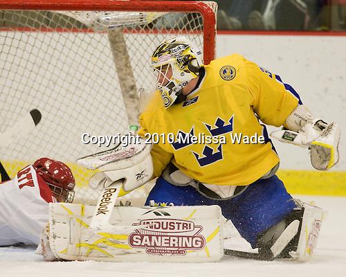 Johan Gustafsson (Sweden - 30) - Sweden's Under-20 team defeated the Harvard University Crimson 2-1 on Monday, November 1, 2010, at Bright Hockey Center in Cambridge, Massachusetts.