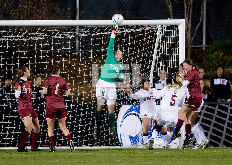 Emily Oliver (19) of Stanford makes a save during the second game of the NCAA Women's College Cup at WakeMed Soccer Park in Cary, NC.  Stanford defeated Boston College, 2-0.