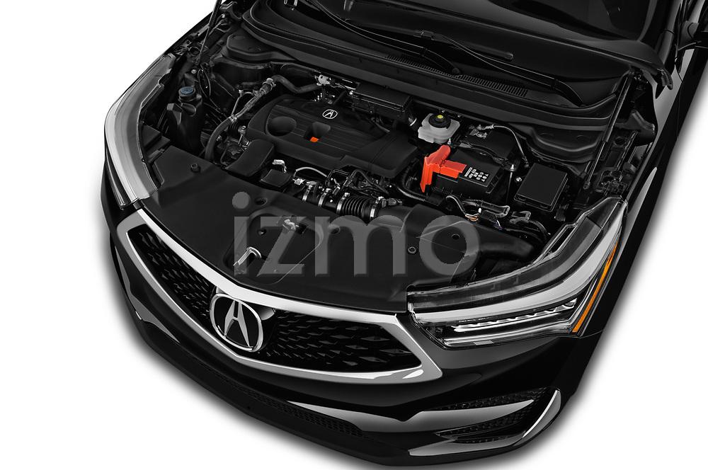 Car stock 2019 Acura RDX RDX 5 Door SUV engine high angle detail view