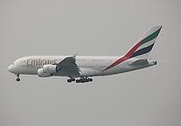An Emirates Airbus A380-861 Registration A6-EDG landing on Runway 25R at Hong Kong Chek Lap Kok International Airport on 6.4.19 arriving from Dubai International Airport, United Arab Emirates.