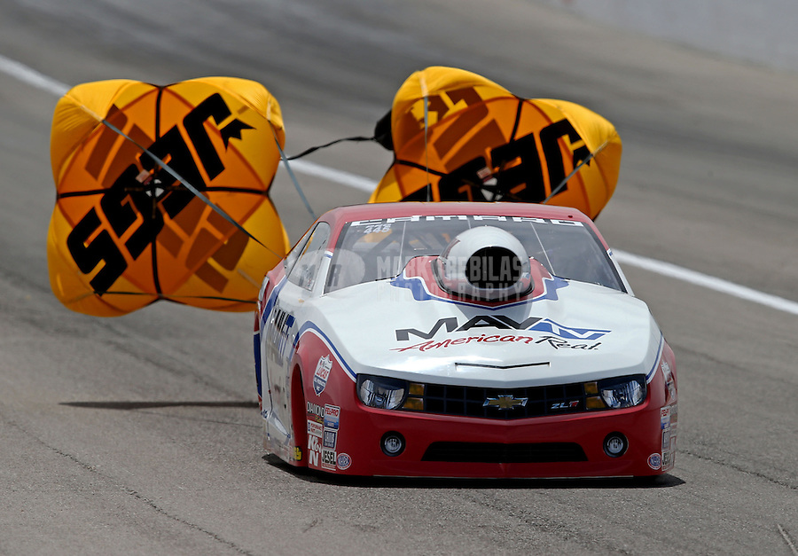 Apr. 6, 2013; Las Vegas, NV, USA: NHRA pro stock driver Greg Stanfield during qualifying for the Summitracing.com Nationals at the Strip at Las Vegas Motor Speedway. Mandatory Credit: Mark J. Rebilas-