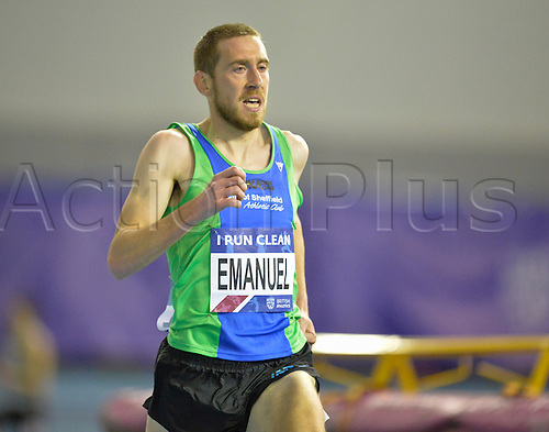 27.02.2016. EIS Sheffield, Sheffield, England. British Indoor Athletics Championships Day One. Lee Emanuel competing in the 3000m Final.