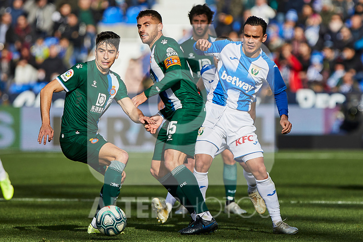 Roque Mesa of CD Leganes and David Lopez of RCD Espanyol during La Liga match between CD Leganes and RCD Espanyol at Butarque Stadium in Leganes, Spain. December 22, 2019. (ALTERPHOTOS/A. Perez Meca)