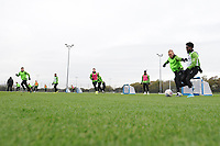 Mike van der Hoorn vies for possession with Nathan Dyer of Swansea City during the Swansea City Training at The Fairwood Training Ground in Swansea, Wales, UK. Wednesday 30 October  2019