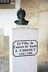 Memorial sculpture bust Holy Roman Emperor  Carlos V,  Cuacos de Yuste, La Vera, Extremadura, Spain
