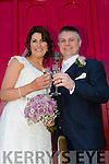 Linda Donegan, Causeway, daughter of John and Mary Donegan, and Colm Gleeson, Ballyheigue, son of Pat and Margaret Gleeson, were married at St. John the Baptist Church Causeway by Fr. Brendan Walsh on Saturday 11th April with a reception at Ballyseedy Castle Hotel