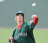 Pitcher Henry Owens (32) of the Greenville Drive prior to a game against the Rome Braves on May 6, 2012, at Fluor Field at the West End in Greenville, South Carolina. Owens was a supplemental round pick by the Boston Red Sox in the 2011 First-Year Player Draft. Greenville won, 11-3. (Tom Priddy/Four Seam Images)