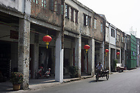 Huizhou, Guangdong province, China - Old buildings at Shuidong Street, October 2014.