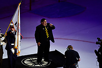 June 6, 2019: Boston Bruins anthem singer Todd Angilly performs before game 5 of the NHL Stanley Cup Finals between the St Louis Blues and the Boston Bruins held at TD Garden, in Boston, Mass. The Blues defeat the Bruins 2-1 in regulation time. Eric Canha/CSM