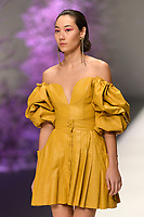 Melbourne, September 7, 2018 - A model wearing AJE walks at the Town Hall Runway Seven show in Melbourne Fashion Week in Melbourne, Australia. Photo Sydney Low