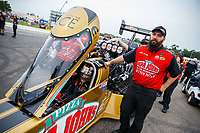 Aug 20, 2017; Brainerd, MN, USA; Crew members for NHRA top fuel driver Leah Pritchett during the Lucas Oil Nationals at Brainerd International Raceway. Mandatory Credit: Mark J. Rebilas-USA TODAY Sports