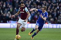 Ahmed Elmohamady of Aston Villa is chased down by Maikel Kieftenbeld of Birmingham during the Sky Bet Championship match between Aston Villa and Birmingham City at Villa Park, Birmingham, England on 11 February 2018. Photo by Bradley Collyer/PRiME Media Images.