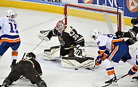 HERSHEY, PA - MARCH 16: Hershey Bears goalie Ilya Samsonov (35) makes a save on Bridgeport Sound Tigers right wing Josh Ho-Sang (26) during the Bridgeport Sound Tigers vs. the Hershey Bears AHL hockey game March 16, 2019 at the Giant Center in Hershey, PA. (Photo by Randy Litzinger/Icon Sportswire)