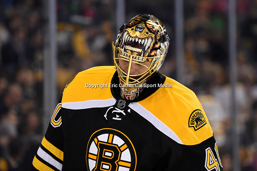 Saturday, October 10, 2105: Boston Bruins goalie Tuukka Rask (40) rests during a break in the action at the NHL game between the Montreal Canadiens and the Boston Bruins held at TD Garden, in Boston, Massachusetts. Montreal defeats Boston 4-2 in regulation time. Eric Canha/CSM