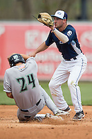 West Michigan Whitecaps second baseman Will Maddox (11) waits for a throw against the Dayton Dragons on April 24, 2016 at Fifth Third Ballpark in Comstock, Michigan. Dayton defeated West Michigan 4-3. (Andrew Woolley/Four Seam Images)