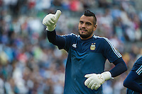 Seattle, WA - Tuesday June 14, 2016: Argentina goalkeeper Sergio Romero (1) prior to a Copa America Centenario Group D match between Argentina (ARG) and Bolivia (BOL) at CenturyLink Field