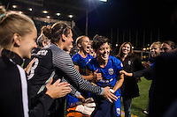 Seattle, WA - Sunday Sept. 11, 2016: Keelin Winters celebrates during a regular season National Women's Soccer League (NWSL) match between the Seattle Reign FC and the Washington Spirit at Memorial Stadium.
