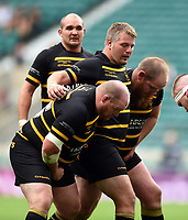 The Cornwall front row of Craig Williams, Rob Elloway and Jess Tompsett pack down for a scrum. Bill Beaumont County Championship Division 1 Final between Cheshire and Cornwall on June 2, 2019 at Twickenham Stadium in London, England. Photo by: Patrick Khachfe / Onside Images