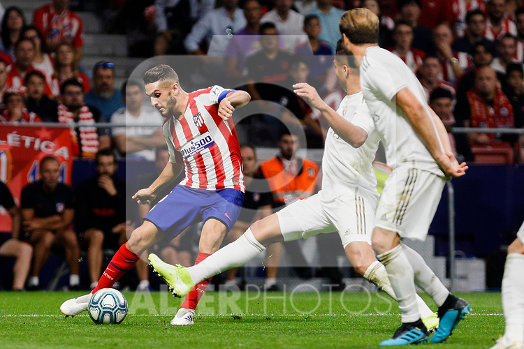 Jorge Resurreccion 'Koke' of Atletico de Madrid and Carlos Henrique Casimiro of Real Madrid during La Liga match between Atletico de Madrid and Real Madrid at Wanda Metropolitano Stadium{ in Madrid, Spain. {iptcmonthname} 28, 2019. (ALTERPHOTOS/A. Perez Meca)