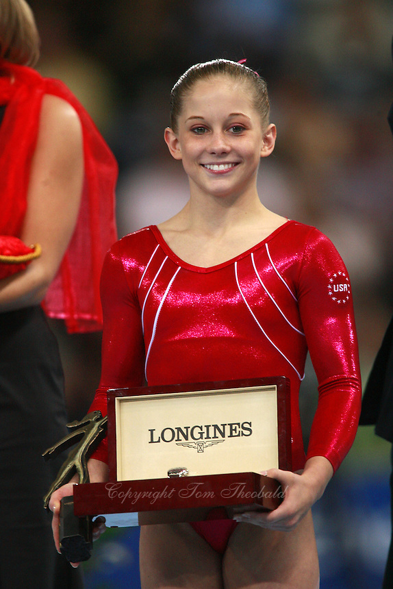 September 9, 2007; Stuttgart, Germany; Shawn Johnson of USA wins Longines Prize for Elegance at 2007 World Championships. Mandatory Credit: Photo by Tom Theobald. Copyright 2007 by Tom Theobald