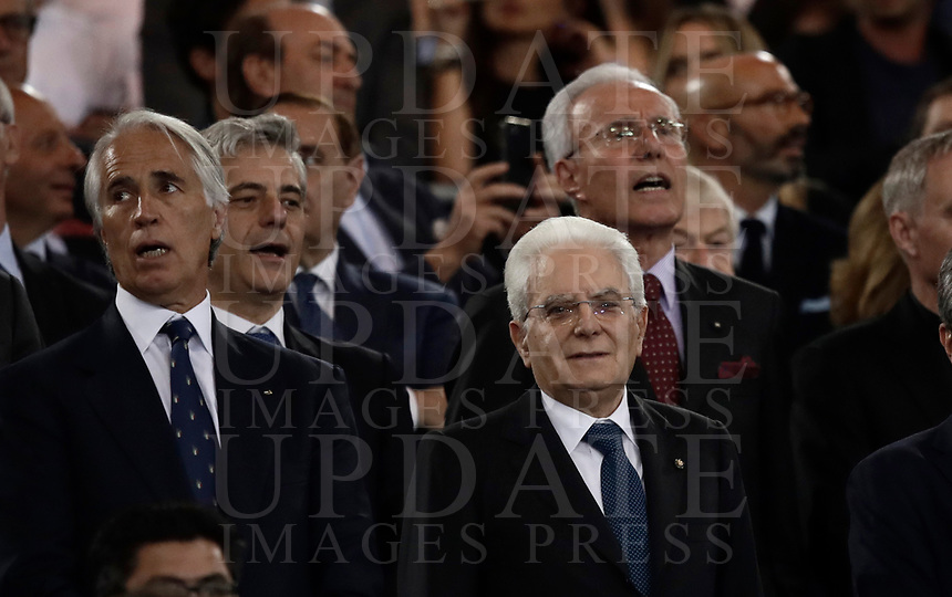 Calcio, Tim Cup: finale Juventus vs Lazio. Roma, stadio Olimpico, 17 maggio 2017.<br /> Italian President Sergio Mattarella, bottom center, waits for the start of the Italian Cup football final match between Juventus and Lazio at Rome's Olympic stadium, 17 May 2017.<br /> UPDATE IMAGES PRESS/Isabella Bonotto