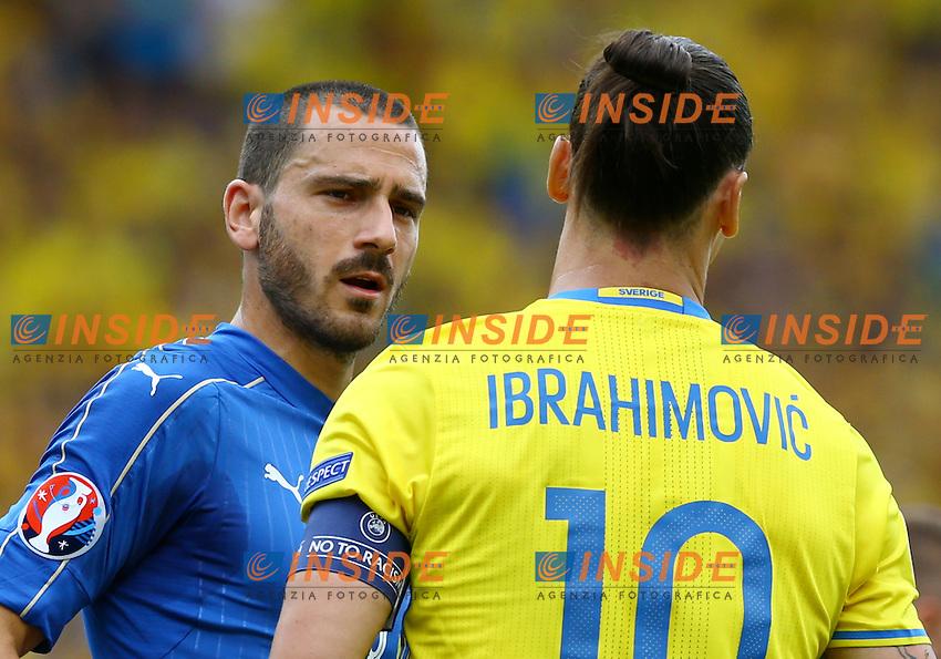 Leonardo Bonucci and Zlatan Ibrahimovic<br />Toulouse 17-06-2016 Stade Velodrome Footballl Euro2016 Italy - Sweden  / Italia - Svezia Group Stage Group E. Foto Matteo Ciambelli / Insidefoto