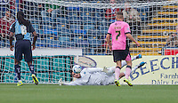 Goalkeeper Matt Ingram of Wycombe Wanderers pulls off a save during the Sky Bet League 2 match between Wycombe Wanderers and Northampton Town at Adams Park, High Wycombe, England on 3 October 2015. Photo by Andy Rowland.