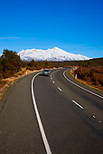 State Highway 1 on the Central Plateau with Mount Ruapehu in the distance, Tongariro National Park, North Island, New Zealand
