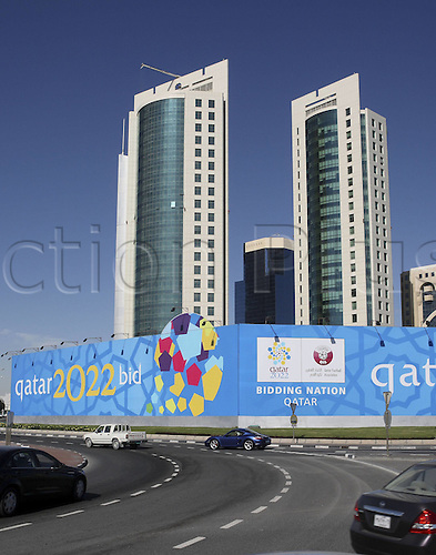 2014. unknown date: Doha, Qatar. Promotional posters for The Football World Cup 2022 in Doha Qatar with the Participation at Application process for The FIFA Football World Cup 2022 applies to Qatar as first Host country in Arabian territory to host the finals