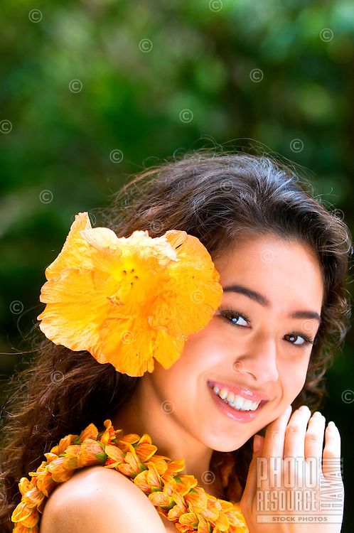 A lovely young Hawaiian hula dancer, O'ahu.