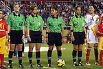 15 December 2012: Match officials (from left): Assistant Referee Shannon Poplstein, Fourth Official Kari Seitz, Referee Christina Ibanez, and Assistant Referee Veronica Perez with China team captain Pu Wei (CHN) (right). The United States Women's National Team played the China Women's National Team at FAU Stadium in Boca Raton, Florida in a women's international friendly soccer match. The U.S. won the game 4-1.