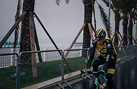 'wisslin' Robert Gesink (NED/LottoNL-Jumbo) on his way to the race start on the Promenade des Anglais in torrential rained down Nice (and next to the Mediterranean Sea)<br /> <br /> 76th Paris-Nice 2018<br /> Stage 8: Nice > Nice (110km)