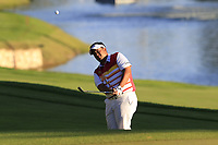 Kiradech Aphibarnrat (THA) chips onto the 18th green during Thursday's Round 1 of the 2018 Turkish Airlines Open hosted by Regnum Carya Golf &amp; Spa Resort, Antalya, Turkey. 1st November 2018.<br /> Picture: Eoin Clarke | Golffile<br /> <br /> <br /> All photos usage must carry mandatory copyright credit (&copy; Golffile | Eoin Clarke)