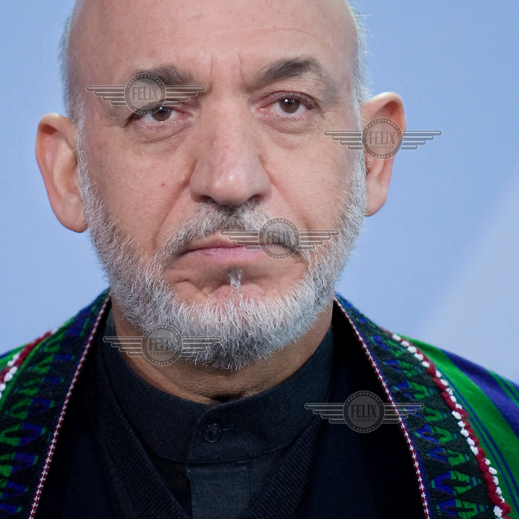 Hamid Karzai, President of Afghanistan, at a press conference in Berlin.