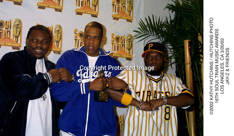 ©2002 KATHY HUTCHINS / HUTCHINS PHOTO.16TH SOUL TRAIN MUSIC AWARDS.LOS ANGELES, CA 3/20/02.JAY-Z & FRIENDS