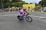 Lampre-N.G.C. team rider Angelo Furlan (ITA) rounds the hairpin during the Prologue Stage 1 of the 2009 Tour de France a 15.5km individual time trial held around Monaco. 4th July 2009 (Photo by Eoin Clarke/NEWSFILE)
