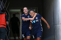 Cary, North Carolina  - Saturday August 19, 2017: Meredith Speck and Debinha prior to a regular season National Women's Soccer League (NWSL) match between the North Carolina Courage and the Washington Spirit at Sahlen's Stadium at WakeMed Soccer Park. North Carolina won the game 2-0.